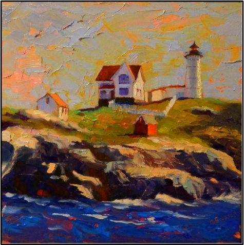 A Clear Day at The Nubble , 12x12, oil on board- Nubble Light House, Cape Neddick, Maine, paintings of lighthouses, painting by artist Maryanne Jacobsen