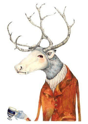 Deer  Print Deer in a jacket  Art illustration by ChasingtheCrayon, £13.00