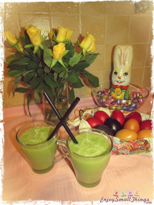 Easter cleansing juice from avocado, celery, banana, apples and orange