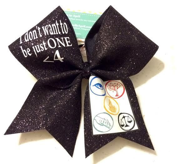 Bows by April Express - Black Glitter I Don't Want to Be Just ONE < 4 Divergent Cheer Bow