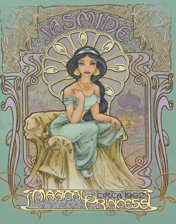 Une interprétation version  Art Nouveau du début du XXième siècle des célèbres princesses Disney : Jasmine, Blanche Neige, Ariel, la Belle au Bois dormant et les autres ;) Réalisés par Enrique Pita et Ed Irizarry.