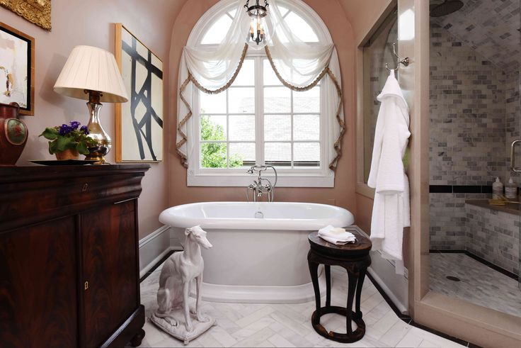 Master Bath by Chad Graci, Graci Interiors LLC, featuring St. George Freestanding Soaking Tub, Transitional Floor Mounted Bathtub Faucet with Randall Lever Handles and Randall Robe Hook.