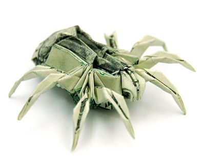 Folding money: spider made with bills