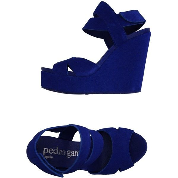 Pedro García Sandals ($124) ❤ liked on Polyvore featuring shoes, sandals, bright blue, velcro closure shoes, animal shoes, leather wedge sandals, pedro garcia sandals and wedges shoes
