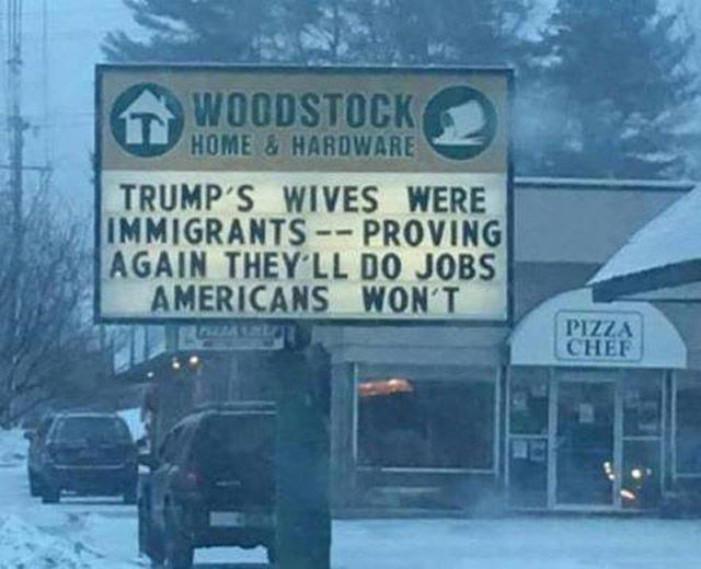Best Donald Trump Protest Signs: Trump's Wives Were Immigrants--proving again they'll do jobs Americans won't  |  #Trumpocalypse