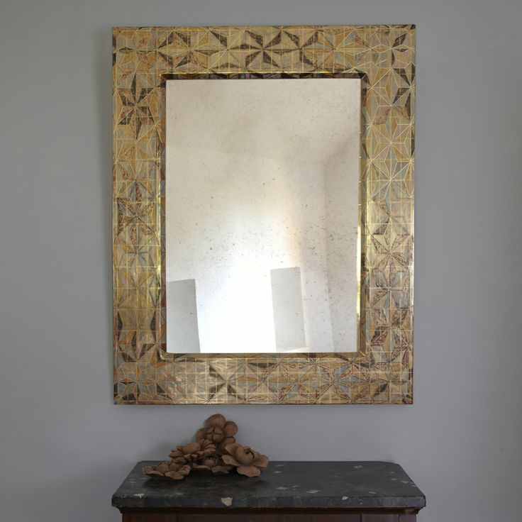 Kimono Mirror I. 134 x 105 cm. A pattern of carved gesso, watercolours and clay colours overlaid with burnished 23 carat gold leaf.