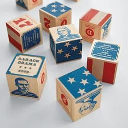 """Handcrafted President Blocks  $89.00  Bring your child up """"Right"""""""