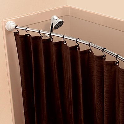 rotating curved shower curtain rod pivots in toward the shower while not in use