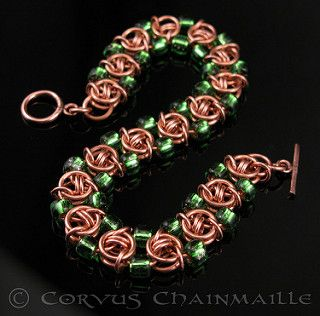 Helm variation with beads | by Redcrow at Corvus Chainmaille