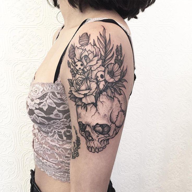 Skull with kodamas thanks shania tattoo blacktattoo for Best tattoo artists in brooklyn