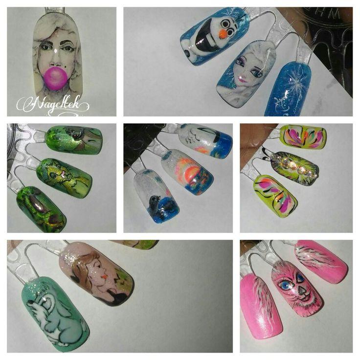 Hand painted, nail art, gelpaint