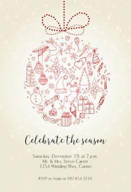 Seasonal Symbols   Free Christmas Invitation Template | Greetings Island  Christmas Invitation Template Free
