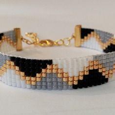 Bracelet tissé en perles miyuki coloris noir/blanc/doré