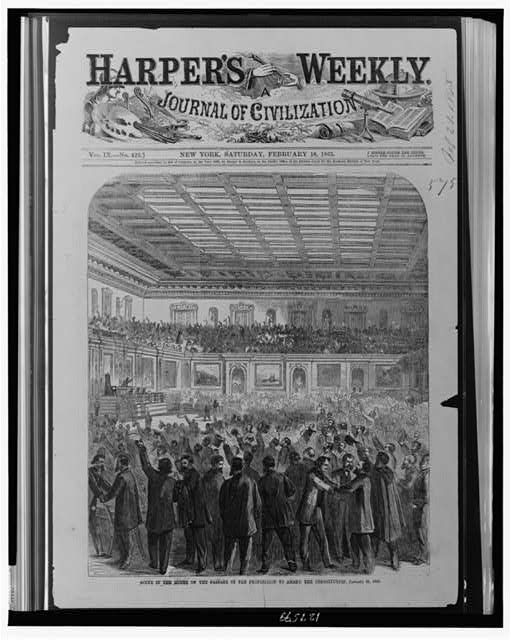 December 6, 1865: 13th Amendment is Ratified    On this day in 1865, the 13th Amendment was ratified and adopted into the United States Constitution, formally abolishing slavery across the country.