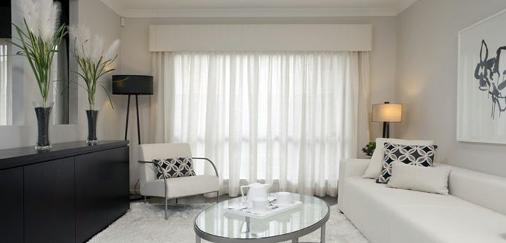 padded upholstered pelmet with sheer curtains  My home