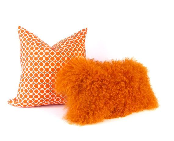 Mongolian Fur Pillow  Orange Fur Pillow  Genuine Mongolian