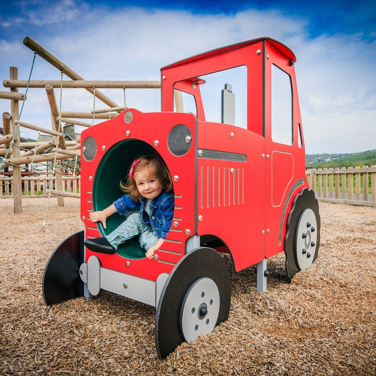 Young farmers will love our jolly red Play Tractor; whether they're ploughing the fields or acting out a favourite farming nursery rhyme or story! Role play opportunities are endless. The Play Tractor features a fun play tunnel at the front for children to crawl through that leads into the cab, where they can stand on the driver's platform and take the tractor for a trip around the farm.