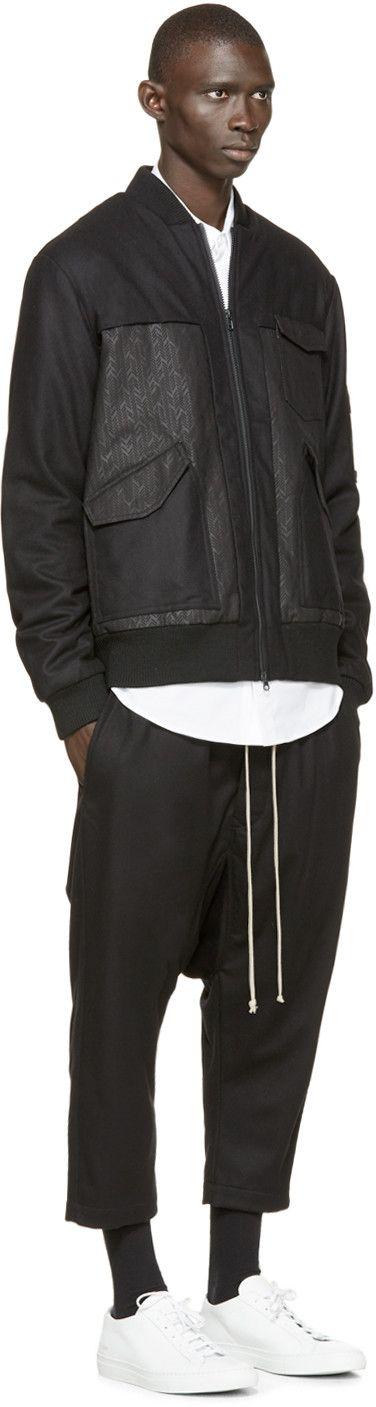Y-3 Black Wool Flight Jacket