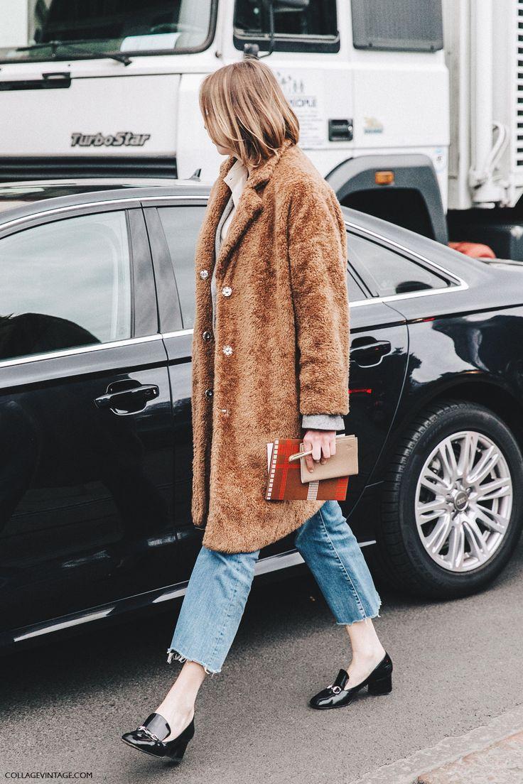 Fuzzy Tan Coat // Street Style // Denim