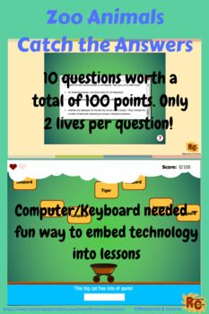Zoo Animals Catch the Answer Game Grade 2-5 | Digital Teaching