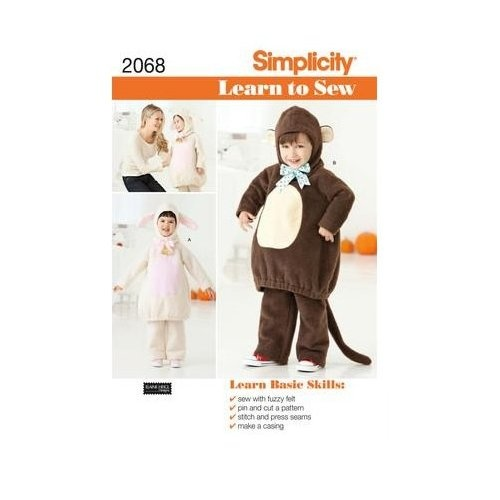 Pattern 2068: Learn To Sew Toddler's Costumes, A (1/2-1-2-3-4): Sewing Toddlers, Monkey Costumes, Halloween Costumes, Learning To Sewing, Toddlers Costumes, Costumes Patterns, Simplicity Patterns, Patterns 2068, Sewing Patterns