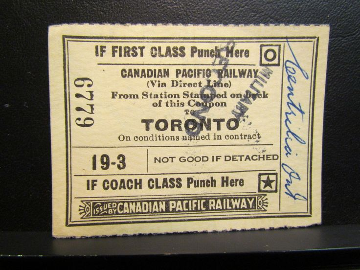 WWII 1949 Canadian Pacific Railways Train Ticket Military Second Camp Borden | eBay