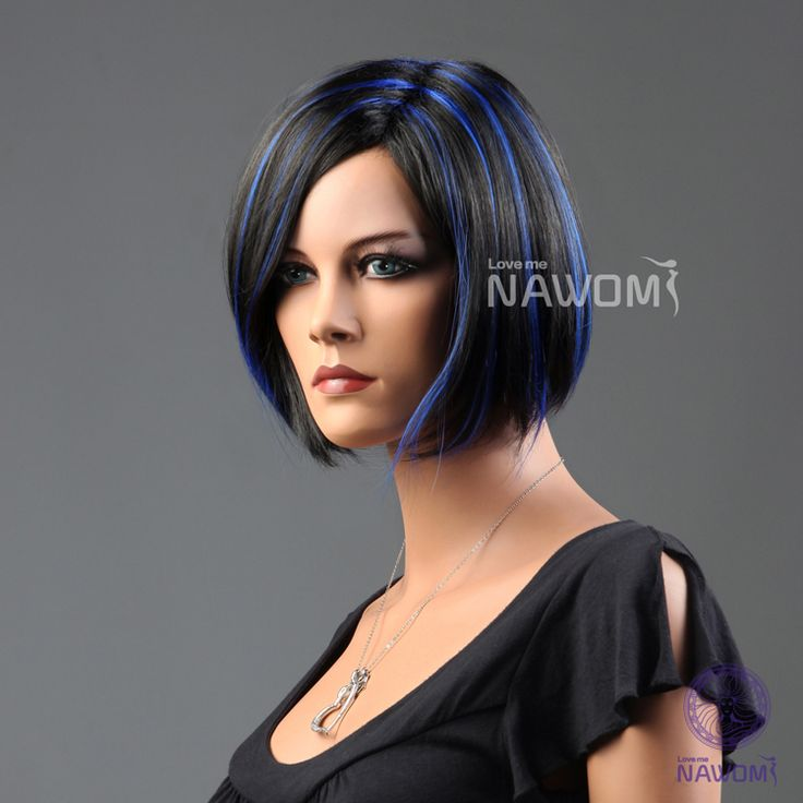 black hair with blue highlights picturesGlamour Female BOB Short Black Blue Highlights Straight Hair Full BHeimKHR