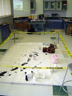 Writing Pin 2: Scene of the Crime Writing: Set up a fake crime scene. Then have all the children to gather around and examine the scene of the crime. After they have all looked at the crime scene have them return to their desk and tell them to write a story about what they thought happened. This will make some interesting stories, but I would use this in only 4th or 5th grade.