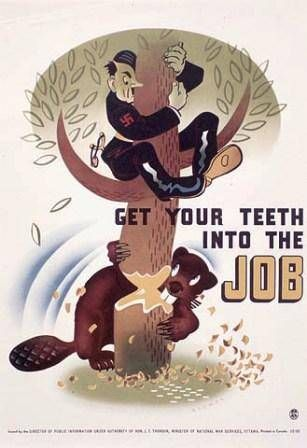 Canadian World War II poster uses a cartoon of a beaver chewing down a tree with Hitler clinging at the top to encourage the Canadian war effort.