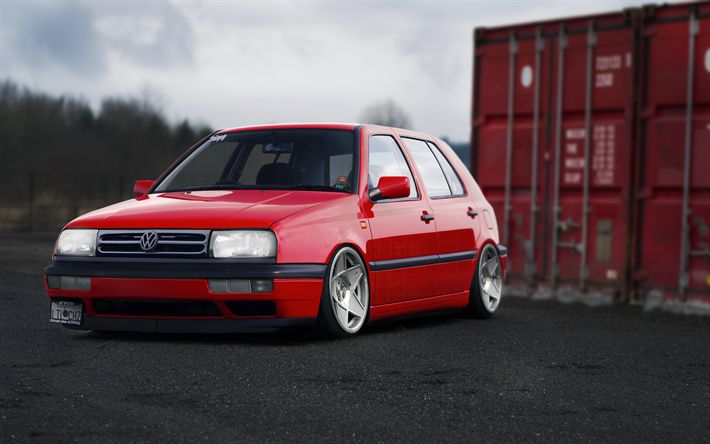 Download wallpapers 4k, Volkswagen Golf, MK3, Marcelux, tuning, red Golf, tunned Golf, stance, VW Golf, Volkswagen
