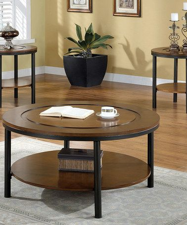 Loving This Medium Brown Round Coffee Table Side Table Set On Zulily