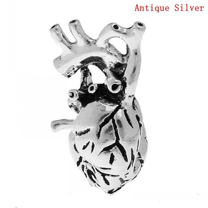 DoreenBeads Шарм Подвески Людская Анатомическая Сердце Старинное Серебро 27 мм х 13 мм, 5 Шт.