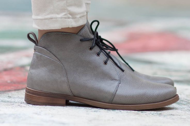 Porto, Grey Leather Booties, Leather Boots, Grey Boots, Leather Ankle Boots, Flat Boots, Winter Shoes, Closed Shoes , Oxfords, Free Shipping by BangiShop on Etsy https://www.etsy.com/listing/196453329/porto-grey-leather-booties-leather-boots