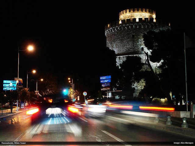 The White Tower at night by Alexandros Maragos