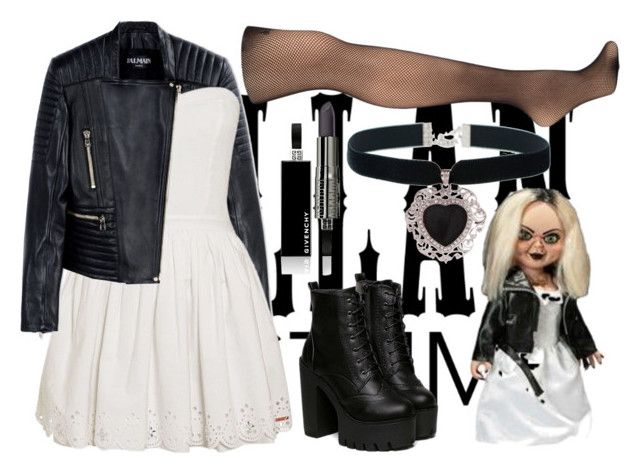 """""""Villan Costume: Bride of Chucky"""" by angelxalice ❤ liked on Polyvore featuring мода, Balmain, Superdry, Hue, Givenchy, Rock 'N Rose, Tiffany & Co., women's clothing, women и female"""
