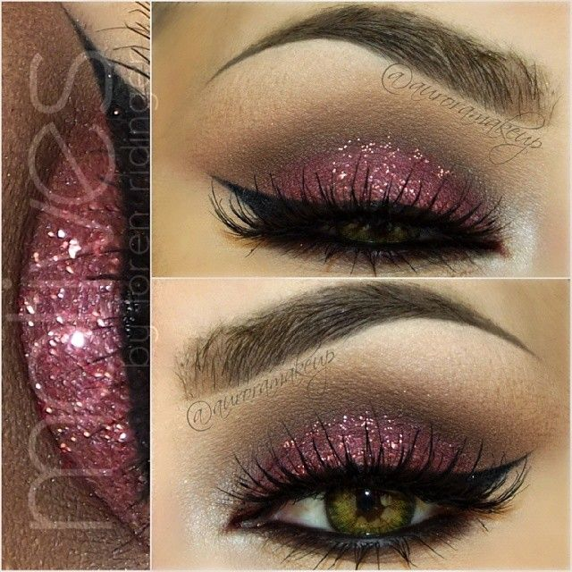 Rose Glitter and Matte Dark Brown Eye Makeup - Winged Eyeliner - Lashes - Brows
