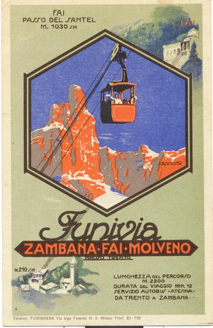 Ecco una bella locandina storica della mitica funivia Zambana- Santel- Cima Paganella, era considerata ideale anche per il collegamento con Molveno e le Dolomiti di Brenta!!