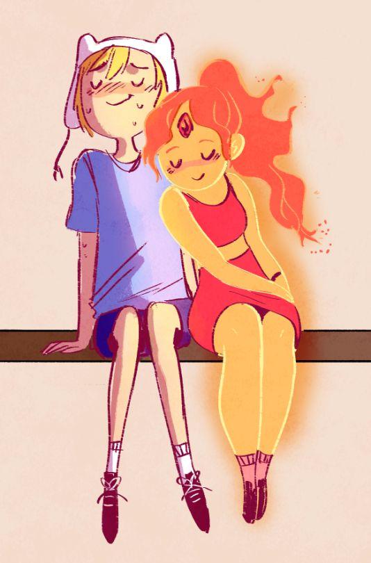 adventure time   finn the human x flame princess   flinn