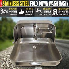 NEW Stainless Steel Fold Down Wash Basin Sink Caravan Motor Home Camping RV