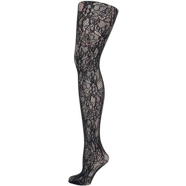 Wolford Clair Fashion Floral Lace Tights , Black ($51) ❤ liked on Polyvore featuring intimates, hosiery, tights, black, lace tights, wolford, floral stockings, lace hosiery and lacy stockings