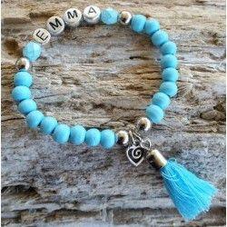Aqua naam armband met flosje