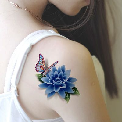 3D Butterfly And Flower Temporary Tattoo On Shoulder