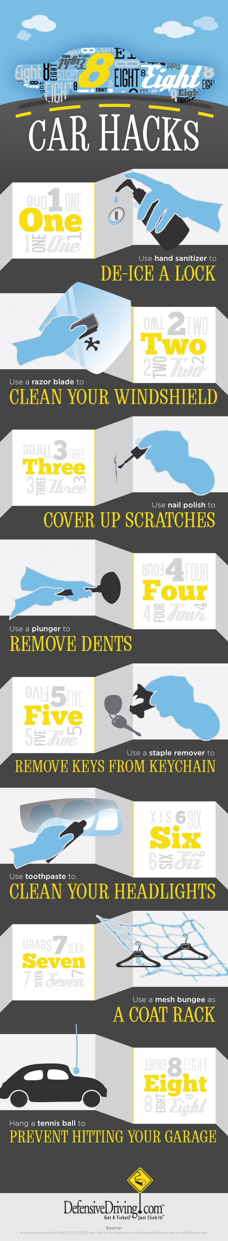 8 Car Hacks That Are Sure to Come in Handy Infographic