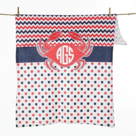 Red Crab Dot Chevron Initial Blanket