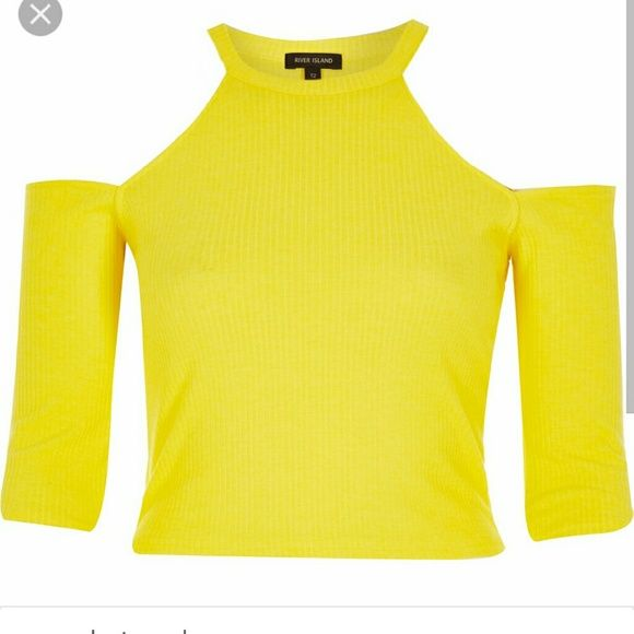 Yellow crop top River island . New with tags . Knit yellow rib crop top. Size large . River Island Tops Crop Tops