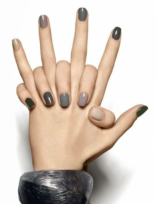grey rainbow nails