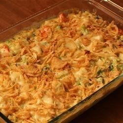 Frozen vegetables are mixed with Campbell's(R) Condensed Cream of Mushroom Soup, sour cream and shredded Swiss cheese, baked until hot, then finished with some French fried onions and an extra sprinkle of Swiss cheese.