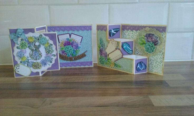 Kaarten gemaakt vanuit het blok van CraftEmotions: Botanical Nature Paperstack.
