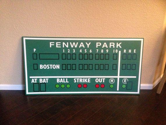 Boston Red Sox decor Fenway Park Green Monster score by RadGraffix, $135.00