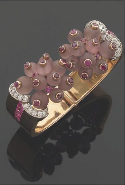 Bracelet, or, améthystes, rubis, diamants, Verger Frères, 1935